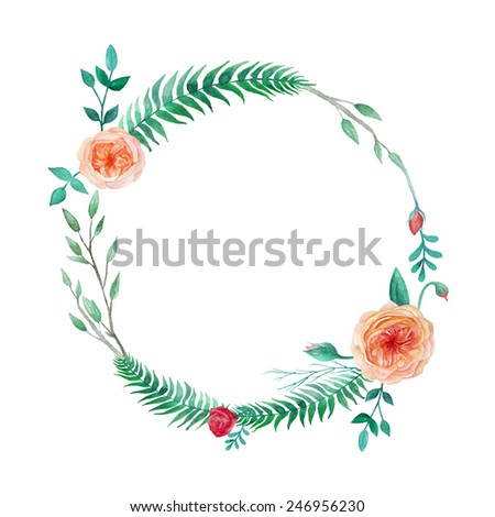Watercolor garden roses wreath. Round frame with english roses, plants, fern and  branches. Vector hand drawn illustration - stock vector