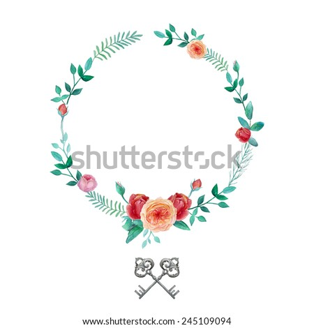 Watercolor garden roses wreath. Round frame with english roses, plants, vintage keys and  branches. Vector hand drawn illustration - stock vector