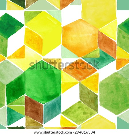 Watercolor geometric abstract seamless pattern background.Colorful modern texture with triangle,polygonal,square tile.Natural Yellow,brown ,green colors.Wallpaper,backdrop,mosaic. - stock vector