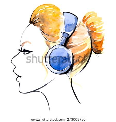 Watercolor girl in headphones - stock vector