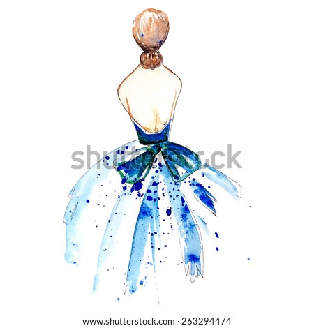 Watercolor girl on blue dress, vector