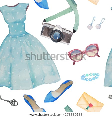 Watercolor girl pattern. Seamless texture with fashion and lifestyle elements: polka dot dress, photo camera, ballet shoes, retro sunglasses, earrings, vintage key and postcard - stock vector