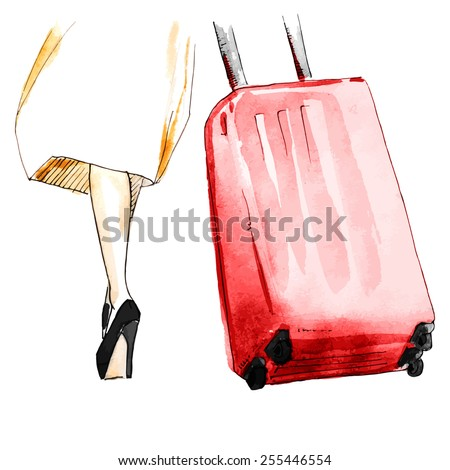 Watercolor girl with bag in airport - stock vector