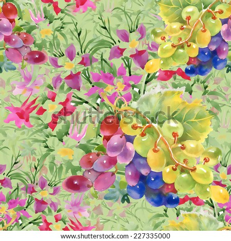 Watercolor grapes and flowers seamless pattern on green background vector illustration - stock vector
