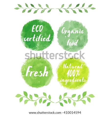 Watercolor green logos set.  Hand drawn painting spots, splashes, badges, squares. Sign label,textured emblem. ECO certified, organic food, fresh product, 100% natural ingredients. - stock vector