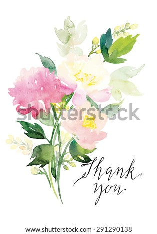 Watercolor greeting card flowers. Handmade. Thank you card. - stock vector