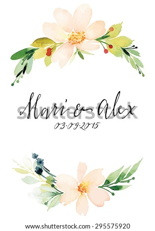 Watercolor greeting card flowers. Handmade. Wedding. - stock vector