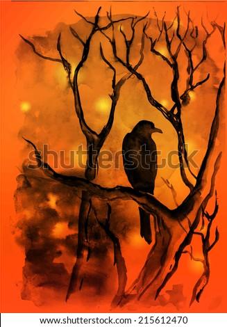 Watercolor halloween vector background - stock vector
