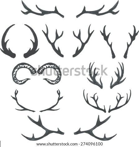 Deer Antlers Drawing Simple