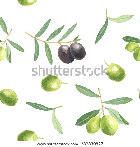 Watercolor hand drawing pattern with black and green olives.