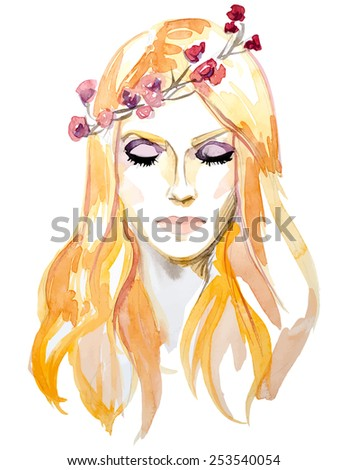 Watercolor hand drawing portrait of orange haired girl with flower in hair  - stock vector