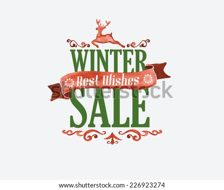 Watercolor hand drawn christmas label, badge, sticker, decorative ornaments. - stock vector