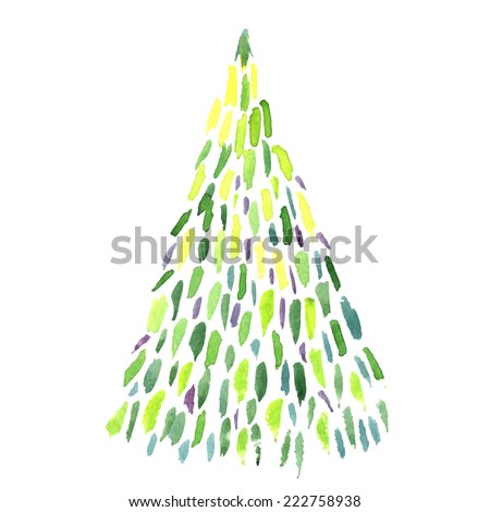 watercolor hand-drawn christmas tree