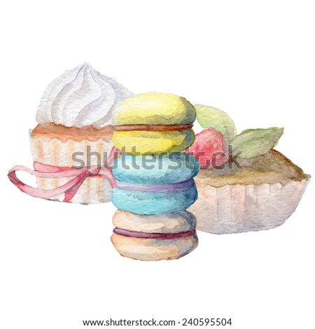 Watercolor Hand drawn cupcakes and macarons, vectorized painting, eps10 - stock vector