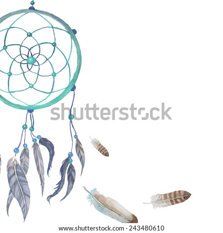 Watercolor hand drawn Dreamcatcher background. Tribal blue dreamcatcher with bird feathers and beads. Vector vintage illustration - stock vector