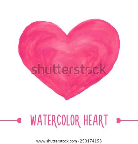 Watercolor hand drawn heart. Vector illustration