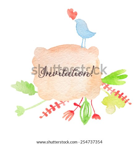 Watercolor hand drawn invitation. Spring or summer design wedding or greeting cards, eps10 - stock vector