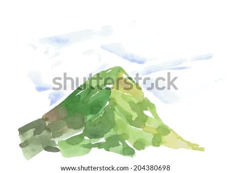 watercolor hand drawn mountain vector illustration - stock vector