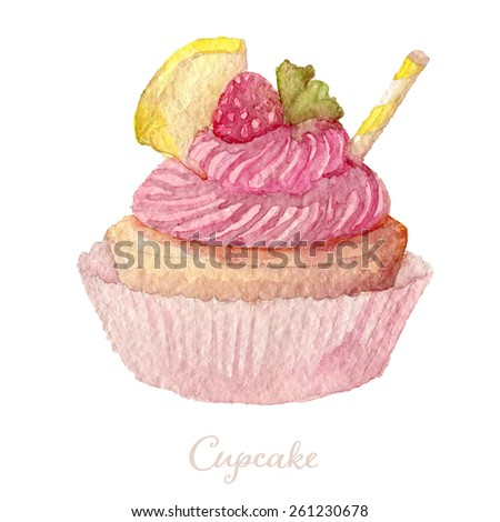 Watercolor Hand Drawn raspberry Cupcake. Vector Illustration, eps10