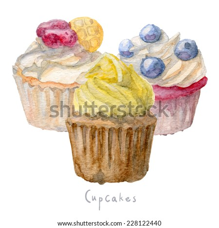 Watercolor hand drawn set of cupcakes. vector Eps10 - stock vector
