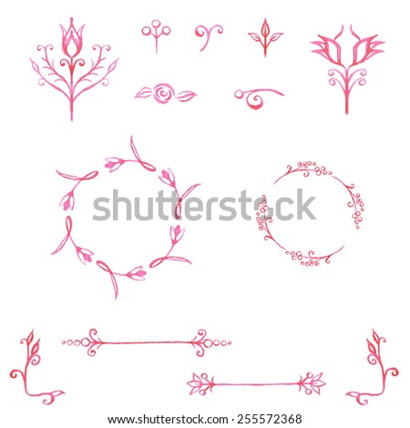 Watercolor hand drawn set of line design elements for logos, frames and borders in modern  style with floral elements - stock vector