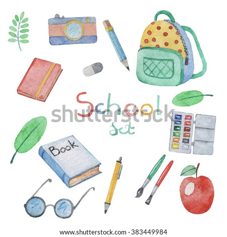 Watercolor hand drawn set of school items. Vector illustration.