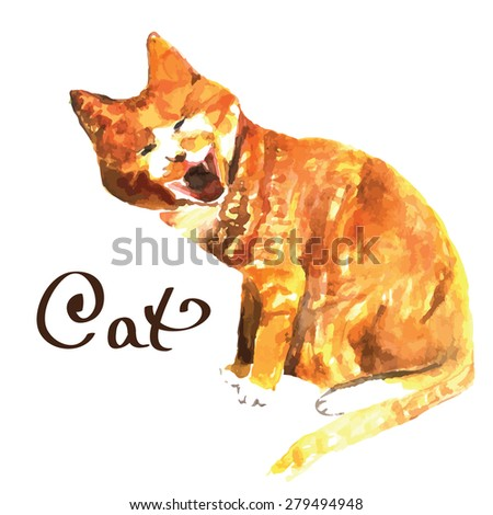 Watercolor hand paint red cat. vector illustration - stock vector
