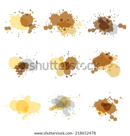 Watercolor hand painted circles set art vector spot - stock vector