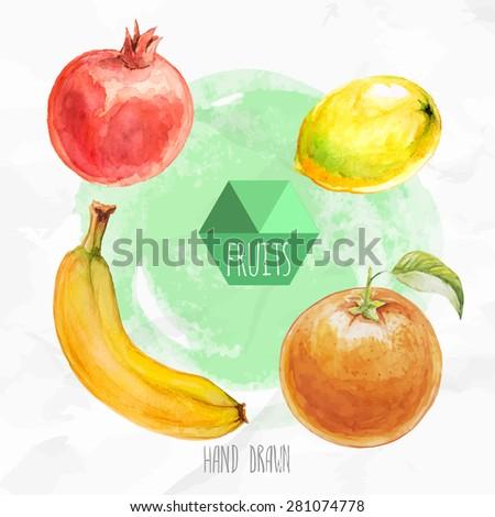 Watercolor hand painted fruit set. Eco food illustration. Watercolor green background. Ripe orange fruit, lemon, banana and pomegranate. Tropical fruits. - stock vector