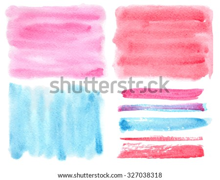 Watercolor hand painting art texture,splash background,design elements,brushes.Isolated Vector template.Blue,magenta colors.Beautiful Artistic blur stains.For wedding,Valentine day - stock vector