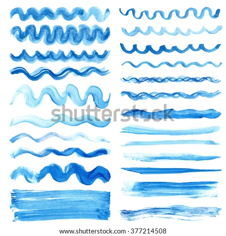Watercolor hand painting brushes,textures.Summer.Stains,drop spot,blue wavy lines,cyan borders set.Vector watercolor design template.Blur,summer background.Holiday,vacation artistic texture,sea ,water - stock vector