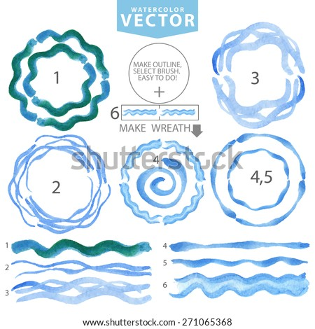 Watercolor hand painting circle frame,wreath,wavy brushes set.Summer watercolor. blue,cyan,color.Vintage blur vector,summer background.Design template.Holiday,vacation artistic texture,water stamp - stock vector