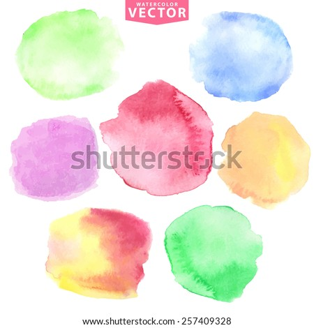 Watercolor hand painting stains,spot,design elements. Bright design template.Vintage vector background.Soft,cute colors,vintage,wedding decor - stock vector