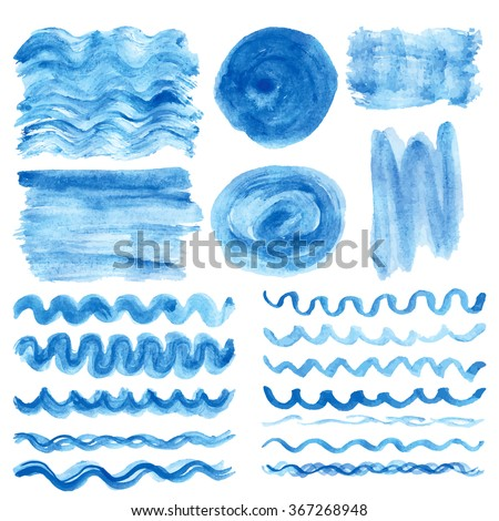 Watercolor hand painting textures.Blue Stains,spot,wavy brushes,borders set.Cyan,color .Bright vector design template.Vintage vector,summer background.Holiday,vacation artistic texture,sea ,water,sky - stock vector