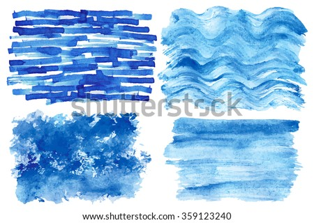 Watercolor hand painting textures.Stains,spot drops,splashes set.Watercolor blue,cyan color design template.Vintage blur vector,summer background.Holiday,vacation artistic texture,sea waves ,water,sky - stock vector