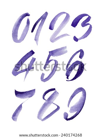 Watercolor hand written purple numbers, calligraphy, vector watercolor. - stock vector