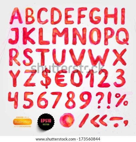 Watercolor handwritten alphabet. Numbers and symbols. Eps10 vector. - stock vector
