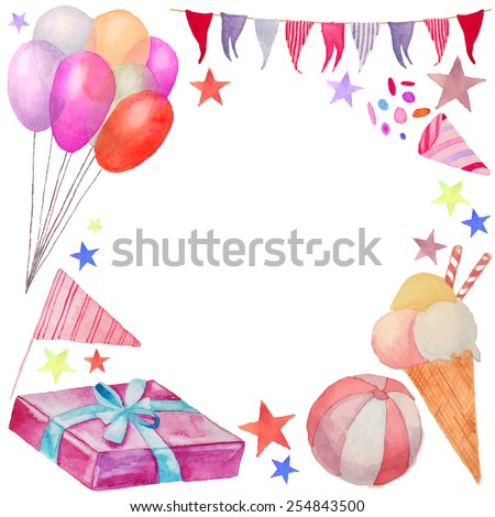 Watercolor Happy birthday frame. Hand drawn vintage celebration card with artistic objects: gift boxe, air balloons, flags garland, ribbons, stars. Vector greeting design  - stock vector
