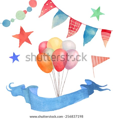 Watercolor Happy birthday set. Hand drawn vintage celebration objects: air balloons, flags garland, ribbon, stars. Vector design elements - stock vector