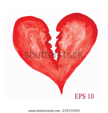 Watercolor Heart Symbol Broken Heart Handdrawn Stockvector 219113443