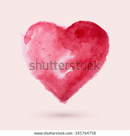Watercolor heart, vector illustration - stock vector