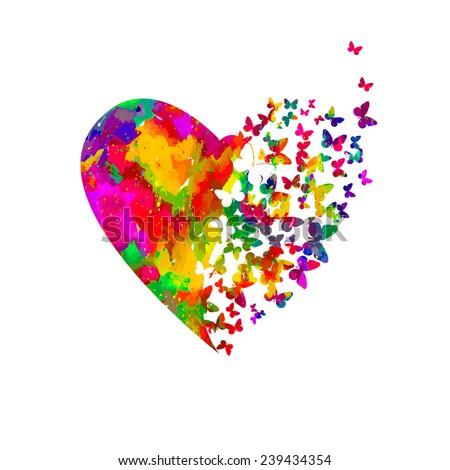 Watercolor heart with butterflies. Vector  - stock vector