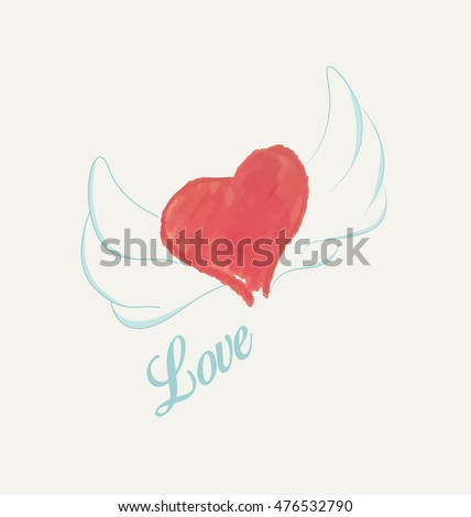 Watercolor heart with wings vector illustration