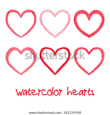 Watercolor hearts set. Hand drawn abstract art. Design element for Valentine's Day, wedding, baby shower, birthday card etc. Vector illustration - stock vector