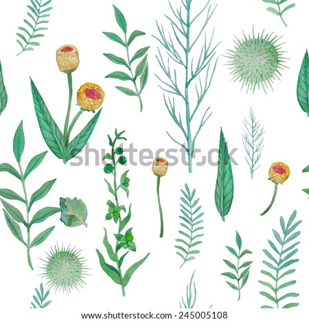 Watercolor herbal elements seamless pattern. Hand drawn flowers and plants illustration  background. Vector texture - stock vector