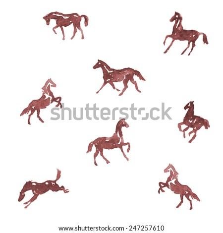 Watercolor horses. Vector - stock vector