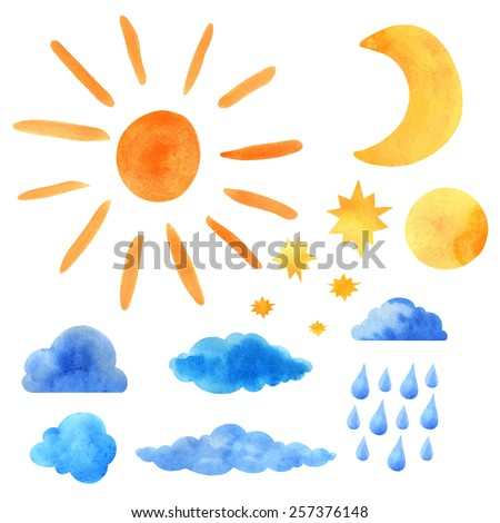 Watercolor icons set sun, clouds, moon, half moon, stars, raindrops closeup isolated on a white background. Hand painting on paper. Art design elements   - stock vector