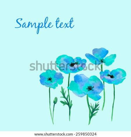 Watercolor illustration of a poppy on a white background.Background for your design and decor.
