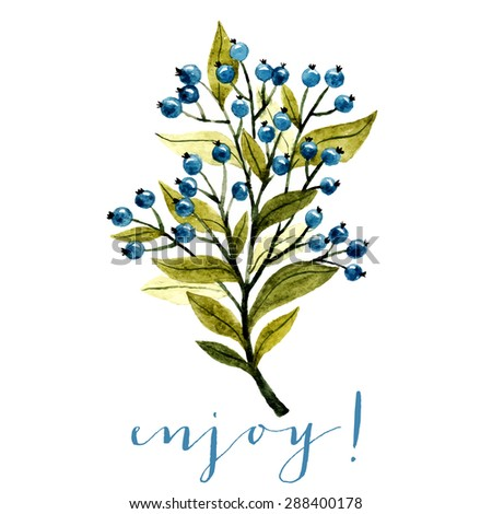 watercolor illustration of branch with leaves and blue berries. botanical watercolor illustration. can be used for greeting cards, wedding invitations etc - stock vector