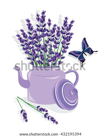 Watercolor illustration of lavender flowers in a Pot. French Provence Vintage flowers and butterfly composition. Floral art for home decoration, organic shop. Natural flowers in retro style. Vector - stock vector
